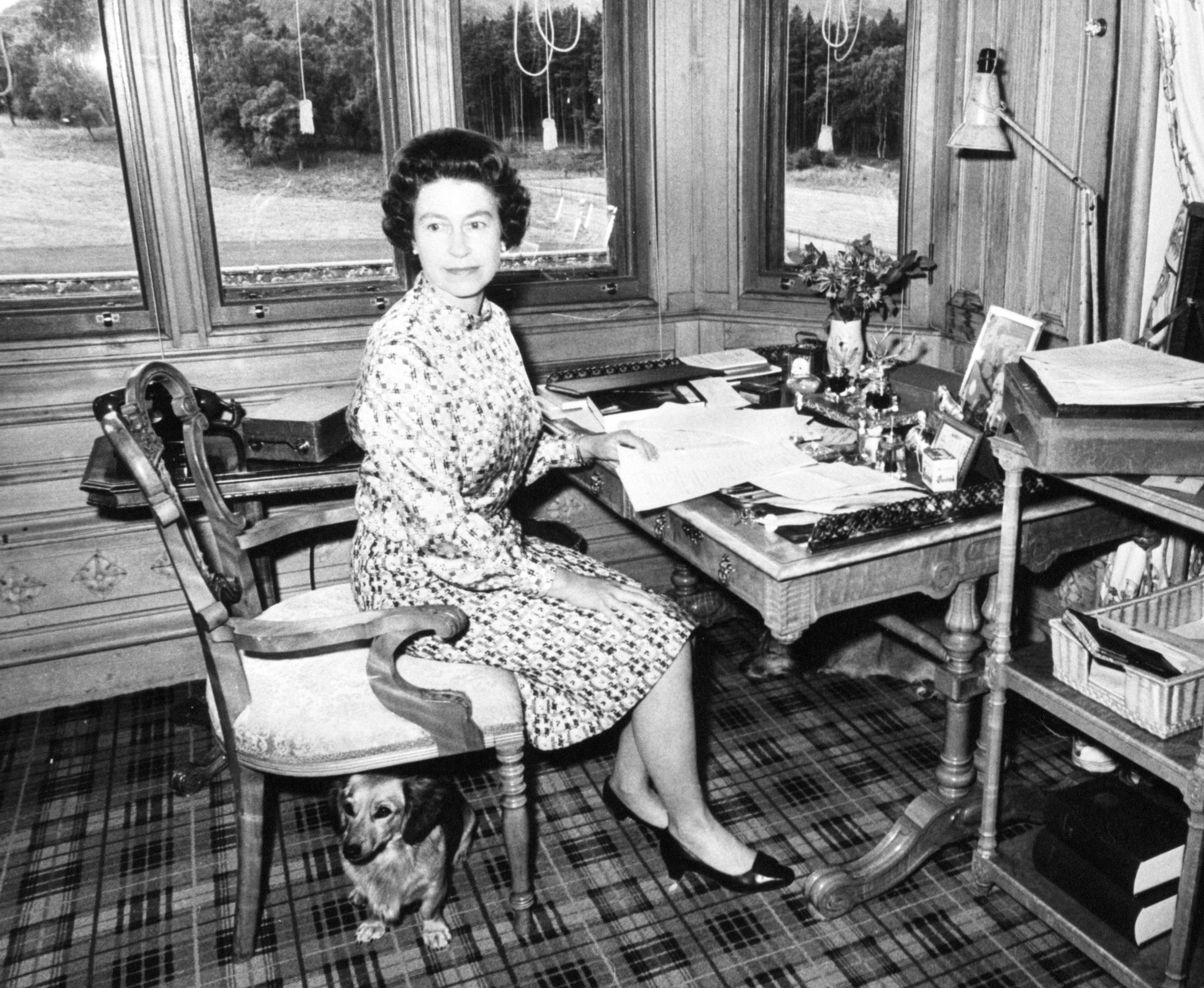 Queen Elizabeth II in her study at Balmoral.
