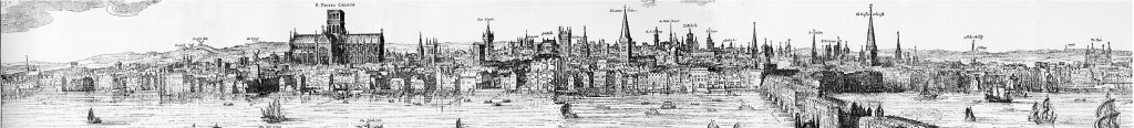 Panorama of London by Claes_Van Visscher, 1616