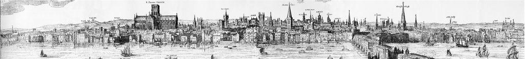 Panorama of London by Claes_Van Visscher, 1616