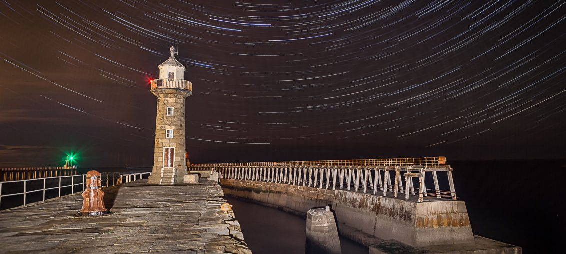 star trails Whitby Pier