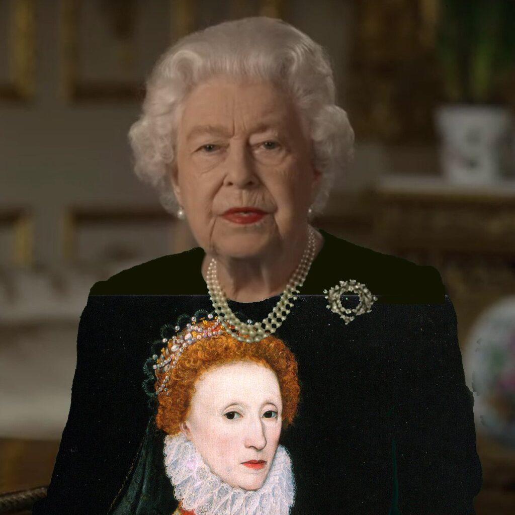 Groen shirt van Queen Elizabeth