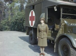 Prinses Elizabeth in de Auxiliary Territorial Service, april 1945