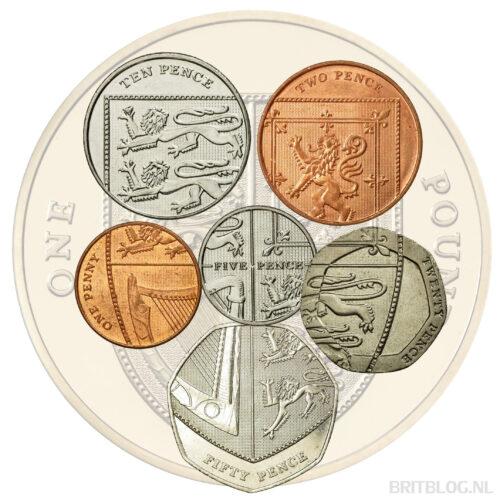 De Britse munten vormen een schild